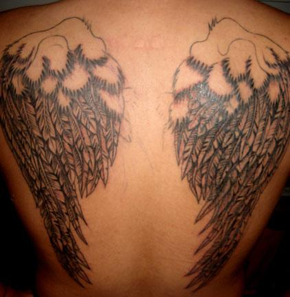 fallen angel wings tattoo cross tattoos pictures. Black Bedroom Furniture Sets. Home Design Ideas