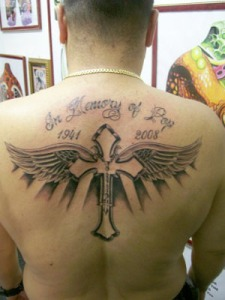 Banner Angel Tattoo Angel Banner Tattoo On Back Wings T